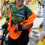 Blind cancer survivor receives her rose after tandem ride