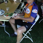 Cloyd Robinson of Great Harvest - rest stop supplier - after riding a fast century